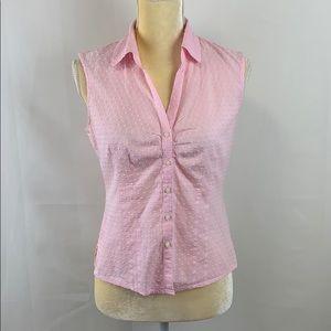Caribbean Joe Sleeveless Button-Down Pink Shirt